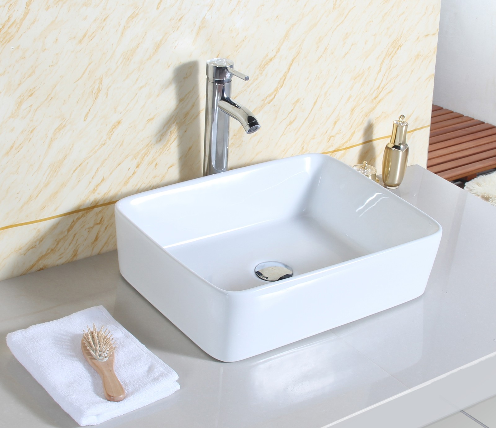 Cloakroom rectangle design bathroom ceramic counter top for Best wash basin design