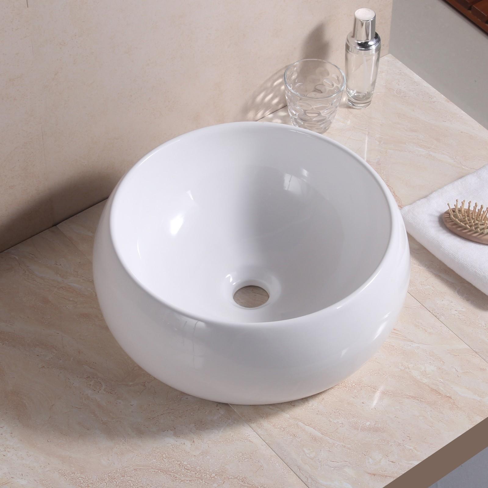 White round basin sink bathroom cloakroom ceramic counter for Wash basin bathroom sink